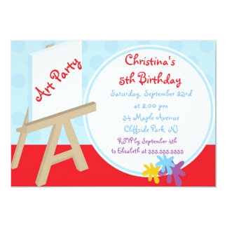 "Cute Easel Painting Art Party Birthday Invitations 5"" X 7"" Invitation Card"