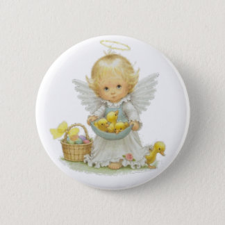 Cute Easter Angel And Ducklings Pinback Button