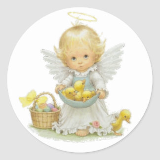 Cute Easter Angel And Ducklings Classic Round Sticker