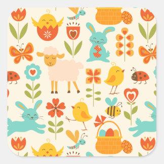 Cute Easter animals Square Sticker