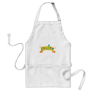 Cute Easter Banner with flowers Adult Apron
