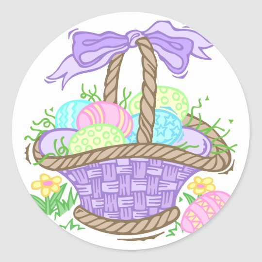 Cute Easter Basket Design Classic Round Sticker