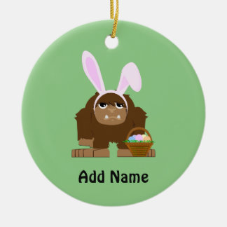 Cute Easter Bigfoot Ceramic Ornament