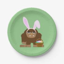 Cute Easter Bigfoot Paper Plate