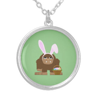 Cute Easter Bigfoot Silver Plated Necklace