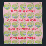 """Cute Easter Bonnet Bandanna<br><div class=""""desc"""">This adorable bandanna features a bunny in a beautiful field of flowers. Wording is based on the old Easter tune from the &#39;40s. This can be a fun way to show of your Easter finery. This can whimsical bandanna can be worn by anyone including the family pet!</div>"""