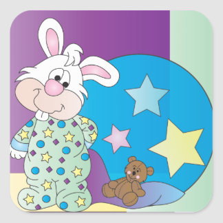 Cute Easter Boy Bunny Bedtime Drawing Square Sticker
