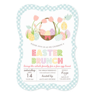 Cute Easter Brunch Egg Hunting Card