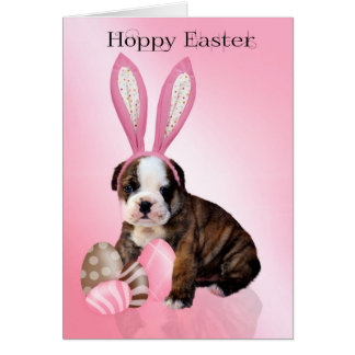 Cute Easter Bulldog Puppy With Eggs, Wearing Rabbi Card