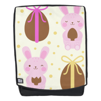 Cute Easter bunnies and chocolate eggs pattern Backpack
