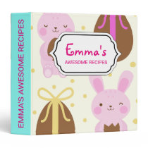 Cute Easter bunnies and chocolate eggs pattern Binder