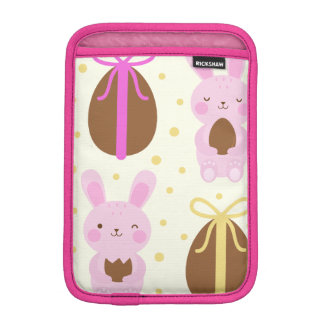 Cute Easter bunnies and chocolate eggs pattern iPad Mini Sleeve
