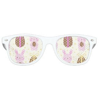 Cute Easter bunnies and chocolate eggs pattern Retro Sunglasses
