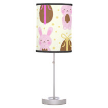 Cute Easter bunnies and chocolate eggs pattern Table Lamp