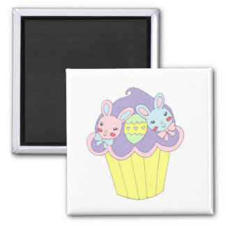 Cute Easter Bunnies Cupcake 2 Inch Square Magnet