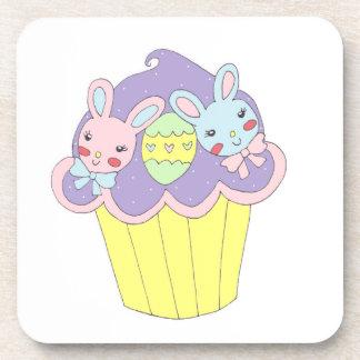 Cute Easter Bunnies Cupcake Beverage Coaster