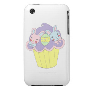 Cute Easter Bunnies Cupcake iPhone 3 Cover
