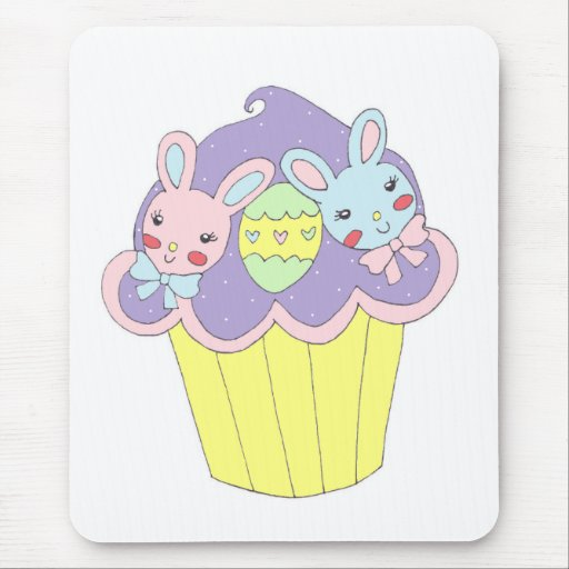 Cute Easter Bunnies Cupcake Mousepad