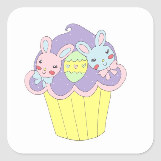 Cute Easter Bunnies Cupcake Square Sticker