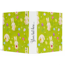 Cute easter bunnies on a meadow 3 ring binder