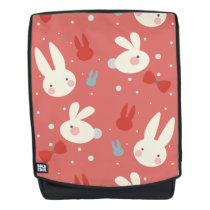 Cute easter bunnies on red background pattern backpack