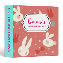 Cute easter bunnies on red background pattern binder