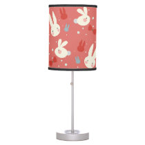Cute easter bunnies on red background pattern desk lamp
