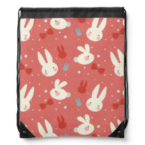 Cute easter bunnies on red background pattern drawstring backpack