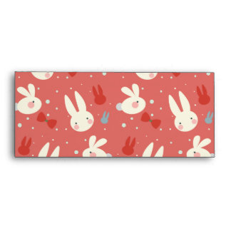 Cute easter bunnies on red background pattern envelope