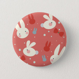 Cute easter bunnies on red background pattern pinback button
