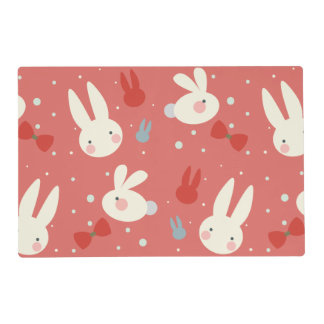 Cute easter bunnies on red background pattern placemat
