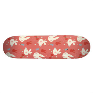 Cute easter bunnies on red background pattern skateboard deck