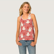 Cute easter bunnies on red background pattern tank top