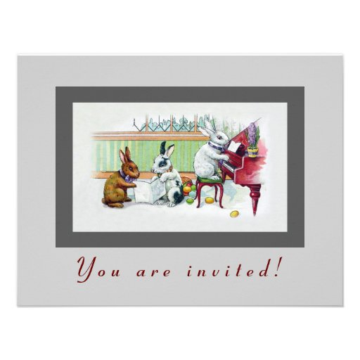 Cute Easter Bunnies - Vintage Easter Party Custom Announcement
