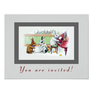 """Cute Easter Bunnies - Vintage Easter Party 4.25"""" X 5.5"""" Invitation Card"""
