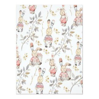 Cute Easter Bunnies Watercolor Pattern Card