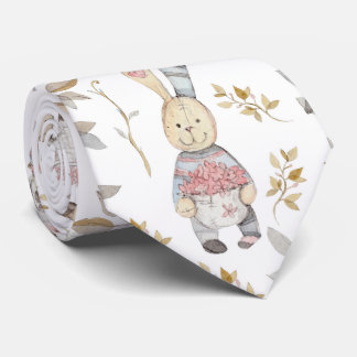 Cute Easter Bunnies Watercolor Pattern Neck Tie