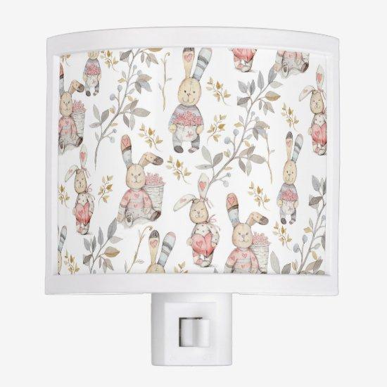 Cute Easter Bunnies Watercolor Pattern Night Light