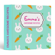 Cute easter bunny and carrots on aqua pattern 3 ring binder