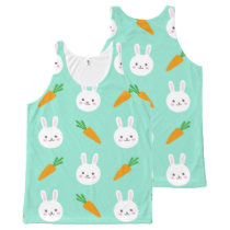Cute easter bunny and carrots on aqua pattern All-Over-Print tank top