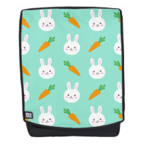 Cute easter bunny and carrots on aqua pattern backpack