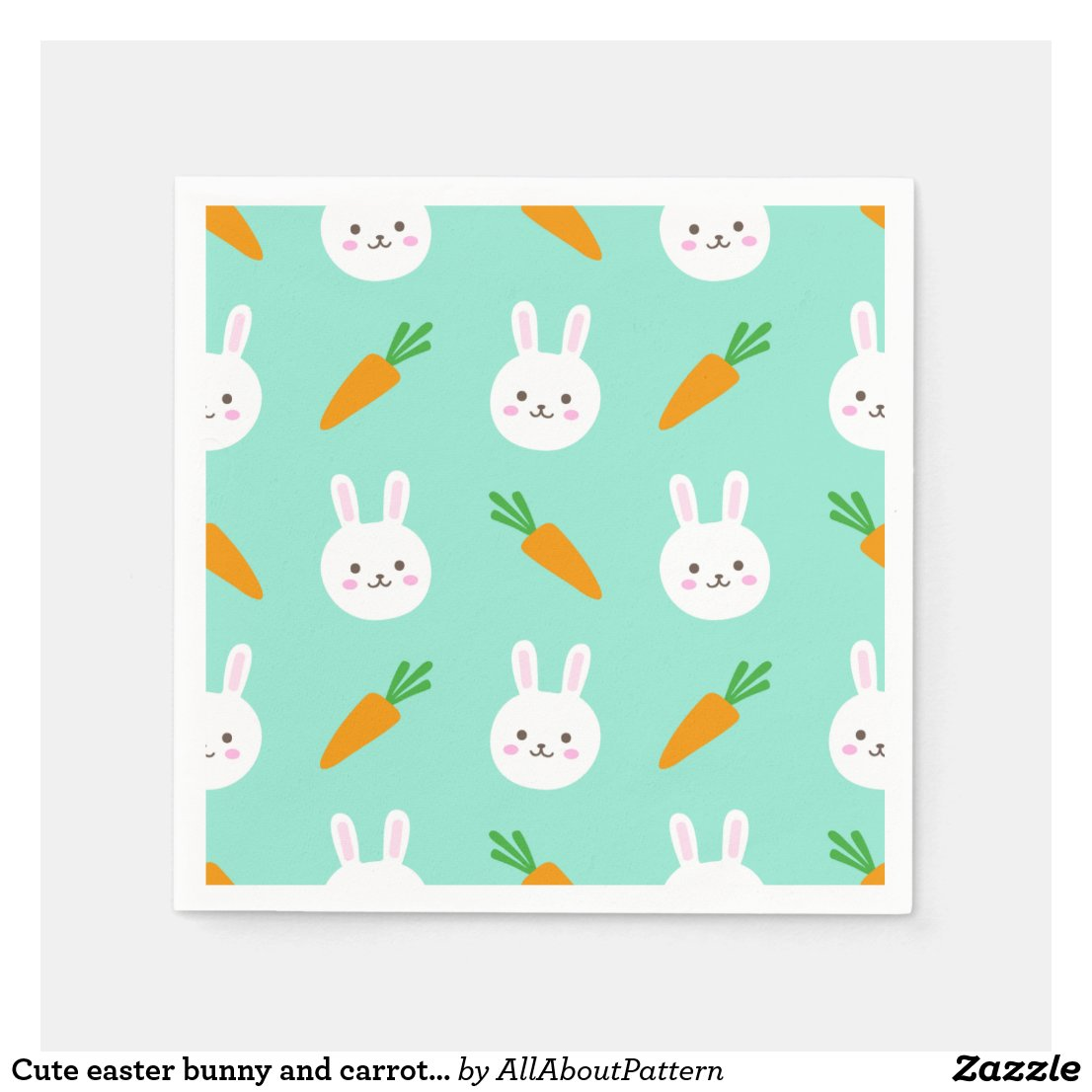 Cute easter bunny and carrots on aqua pattern paper napkin