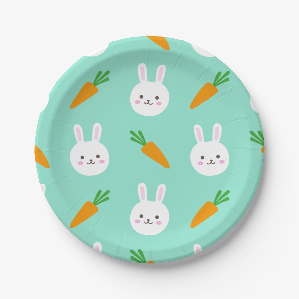 Cute easter bunny and carrots on aqua pattern paper plate