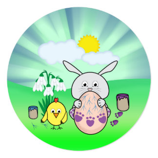"""Cute Easter Bunny and chick Coloring Easter Egg 5.25"""" Square Invitation Card"""