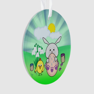 Cute Easter Bunny and chick Coloring Easter Egg Ornament