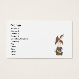cute easter bunny and easter egg business card