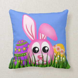 Cute Easter Bunny and Egg MoJo Square Throw Pillow