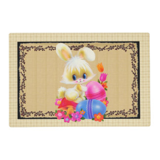 Cute Easter Bunny and eggs Holiday place mat