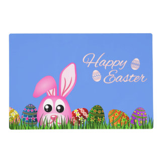 Cute Easter Bunny and Eggs in Grass Double Sided Placemat