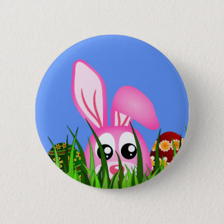 Cute Easter Bunny and Eggs in Grass Round Badge Button